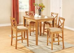 East West Furniture PUBS5 OAK C 5 Piece Counter Height Table Set,