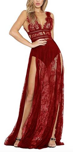 Meenew Women's Sexy See Through High Slit Long Maxi Lace Dress Lingerie Gown Formal Dresses For Women, Casual Summer Dresses, Lingerie Gown, Body Dentelle, Bodysuit Fashion, Club Dresses, Maxi Dresses, Lace Bodysuit, Lace Tops