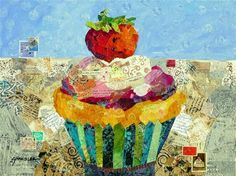 """""""Cinderella Cupcake: One Little Glass Slipper 13070"""" - This is the painting after the collage has been added. Day 5 of the 30/30 Sept. challenge. Original Fine Art for Sale - © Nancy Standlee"""