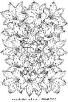 Tropical Flowers. Hand-drawn floral pattern in black and white. Adult coloring book page, textile and tattoo design. Vector background illustration. Zendoodle.