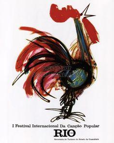 ADVERTISING EXHIBITION FESTIVAL POPULAR SONG COCKEREL RIO BRAZIL POSTER BB2277A