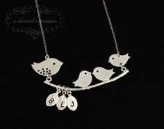 Mama Bird Baby Bird Necklace . Sterling Silver Bird Necklace . Three Initial . Personalized Mother's Necklace . 3 Little Birds . Mom Grandma