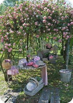 Heavenly pink rose garden