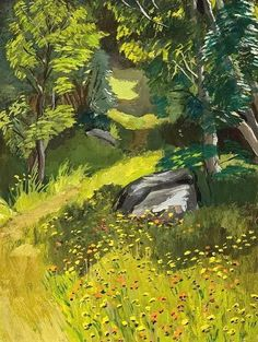 urgetocreate:  Fairfield Porter, Maine Woods with Hawkweed, ca.1958