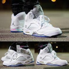 low priced a09cf cd83b White Metallic Silver 5s 2015 on foot,don t miss a pair Buy Jordans