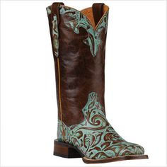 Turquoise Tooled Leather Cowboy Boots... LOVE