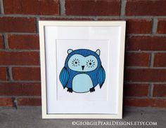 www.georgiepearldesigns.etsy.com  Whimsical Owl Illustration. Nursery Art. by GeorgiePearlDesigns, $20.00