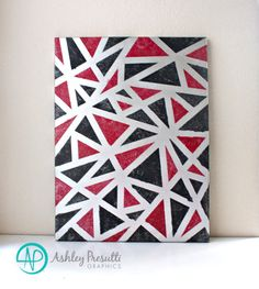 Original Abstract Art 18x24 Canvas Painting Black Red Metallic Silver—Edgy Geometric Triangle Contemporary Modern Home Decor Artwork by PresuttiGraphics