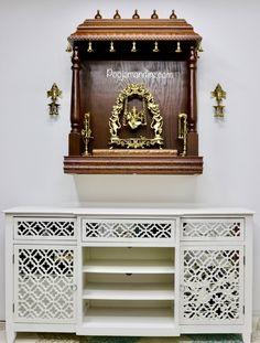 Pooja Mandirs USA - Vishaka Collection - Wall Hanging Mandirs Wooden Temple For Home, Mandir Decoration, Indian Room Decor, Mandir Design, Pooja Mandir, Pooja Room Door Design, Puja Room, Room Ideas, Decor Ideas