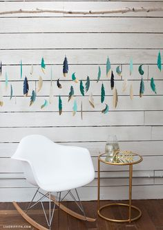 Unique paper feather wall art