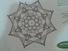 unit flower illustration - Her Crochet Crochet Snowflake Pattern, Crochet Snowflakes, Crochet Diagram, Crochet Stitches Patterns, Crochet Chart, Crochet Squares, Thread Crochet, Diy Crochet, Crochet Designs