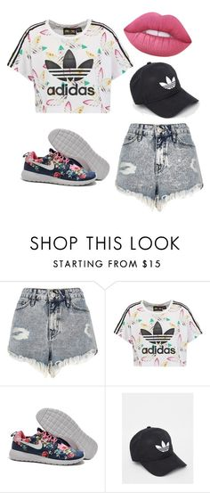 """""""Ugh want this all"""" by ellamimiwatson ❤ liked on Polyvore featuring River Island, adidas Originals, adidas, Lime Crime, jeanshorts, denimshorts and cutoffs"""