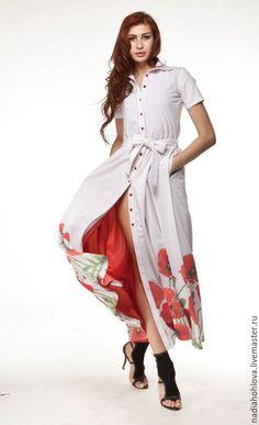 """Платья ручной работы. Ярмарка Мастеров - ручная работа. Купить Платье-Халат """"Маки"""". Handmade. Белый, неделя моды"""