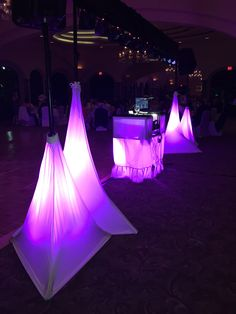 New white skirts for speaker and light stands with up-lights Stage Lighting, White Skirts, Patio, Lights, Outdoor Decor, Lighting, Rope Lighting, Candles, Lanterns