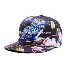 bc3138b016c New style owl print flat bill hip hop snapback hats 3d design custom  snapback hat template