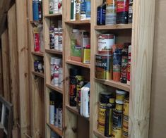 Super Simple Stud Shelves I wanted to utilize the area under my staircase for storage. The wall is sheet rocked on one side but on the other side the studs are exposed. What better way to The post Super Simple Stud Shelves appeared first on Wood Diy. Storage Shed Organization, Garage Storage Racks, Workshop Storage, Basement Storage, Built In Storage, Staircase Storage, Storage Ideas For Garage, Basement Kitchenette, Diy Workshop