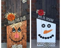 Reversible Scarecrow/Snowman by SouthernGritDesign on Etsy.