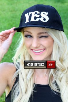 Black Yes No Mini Brim Snap Back Hat at http   www. f7ee04ee1cd3