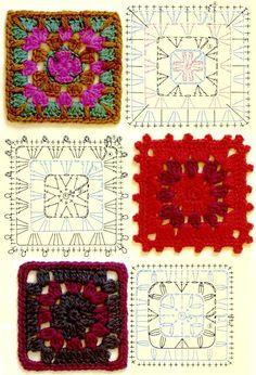 Crochet feminine and beautiful jacket. Free patterns for crochet jacket Crochet Motif Patterns, Granny Square Crochet Pattern, Crochet Diagram, Crochet Chart, Crochet Squares, Crochet Granny, Crochet Stitches, Crochet Quilt, Crochet Blocks