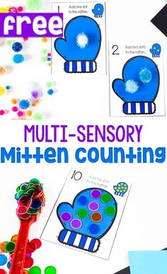 Free printable mitten counting cards for your winter preschool math centers. Use play dough, pom poms, magnetic counting circles to create 'dots' on the mittens. Winter Activities For Kids, Kindergarten Math Activities, Counting Activities, Preschool Kindergarten, Snow Activities, Space Activities, Preschool Worksheets, Learn Basic Math, Math Manipulatives