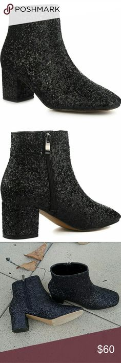 Black Glitter Low Heel Boot Sparkle Ankle Bootie 6 Black glittery sequin sparkly boot. Low heel, comfy and easy to walk in. I accidentally bought 2 pairs so I am re-poshing the unused pair. I LOVE my pair and got so many compliments on them. Perfect with a dress, leggings, or with thy high socks. These are new in the box, never worn. Shoes Ankle Boots & Booties