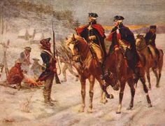 His Excellency,  General George Washington & the Marquis de Lafayette at Valley Forge. Valley Forge in Pennsylvania was the site of the military camp of the American Continental Army over the winter of 1777–1778 during the American Revolutionary War.