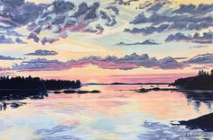 Sunset On Northwest Harbor | Elise Nuckols Art | Acrylic on Canvas | 24 x 36""