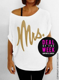 Mrs.  White with Gold  Slouchy Tee by DentzDesign on Etsy