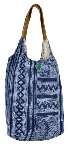 164189dfb319 This soft and slouchy tote bag is made from batik hemp and dyed in indigo.