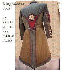 More steampunk than Ryan would want but I think it might have the right roughness - Ringmaster Coat Circus Couture steampunk pirate frock by ManicManx
