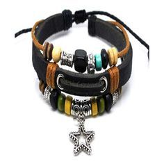 Leather & Hemp Star Charm Beaded Bracelet Pack ($9.90) ❤ liked on Polyvore featuring jewelry, bracelets, bead charm bracelet, leather charm, bracelet bangle, adjustable hemp bracelet and star charms