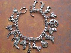 Western Country Horse Lovers Tibetan Silver Charm Bracelet