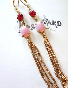 Vintage Rhinestone Earrings in Pink with by SecondEditionJewelry, $28.00