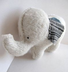 White Elephant  Recycled Wool Plush Toy by sighfoo on Etsy....Adrienne baby shower??