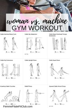 Cable Machine Gym Workout Source by curleedst The post Woman vs. Cable Machine Gym Workout appeared first on Zaynah Diet and Fitness. Workout Woman, Gym Workout Plan For Women, Gym Workouts Women, Gym Routine Women, Gym Plan For Women, Planet Fitness Workout Plan, Work Out Routines Gym, Fitness Men, Fitness Goals