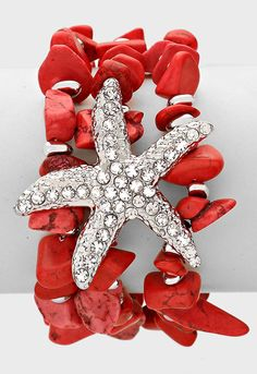 Crystal Pave Starfish Mult-layered Beaded Bracelet-Red - Ice It  #iceit #summerfun #beachwear
