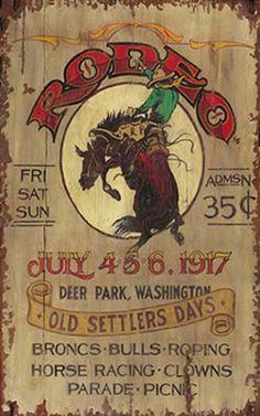 Bronco Rodeo Vintage Antiqued Wood Sign
