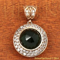 Hurrem Sultan Pendant Round Shape Emerald Color Look Ottoman Silver Jewelry 925