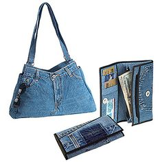 Blue Denim Jeans and Wallet