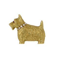 """Brooch – miniature Scottie dog in 18ct yellow gold with diamond collar and ruby eye. 1.8cm x 2.2cm (approx. ¾"""")"""