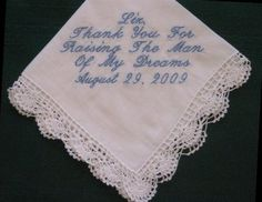 Mother of the Groom  Hanky with Gift Box 14S by EmbroiderybyLinda, $20.00