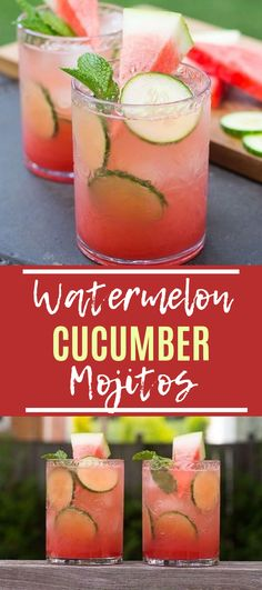 These Watermelon & Cucumber Mojitos are going to become your next refreshing go-to summer drink – serve them in an ice cold pitcher! - The Girl on Bloor Cocktails Watermelon & Cucumber Mojitos - The Girl on Bloor Alcohol Drink Recipes, Fun Summer Drinks Alcohol, Watermelon Alcoholic Drinks, Watermelon Cocktail, Party Drinks Alcohol, Summer Mixed Drinks, Best Summer Drinks, Watermelon Mixed Drinks, Best Bar Drinks