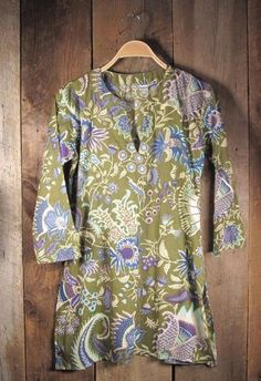 Lightweight cotton tunic silk screen printed n India with green khaki color and…