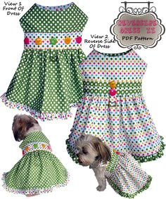Reversible dog harness dress pdf pattern by http://missdaisydesigns.com for small dogs. Sizes m, s, xs, xxs.