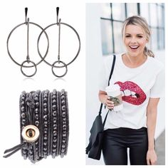 Fun Outfit?! You bet! You have to get dressed every day, so why not make it Fun!! How cute is this statement tee with those black leather leggings?!?! Complete the Look with our Legato Wrap Bracelet and Serendipity Inner Circle Earrings to add to the Fun!!! This is #esbestyle #esbedesigns #jewelry #designer #HelloBeautiful #WOWFactor #pursuepretty #CasualChic (Photo:pinterest)  SHOP: www.esbedesigns.com/Pam ID#246237