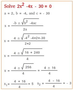Solve using the quadratic formula. Lesson is crystal clear and straightforward 10th Grade Math Worksheets, Math Vocabulary, Math Math, Math Fractions, Gcse Maths Revision, Solving Equations, Equation Solving, Math Formulas, Math Words
