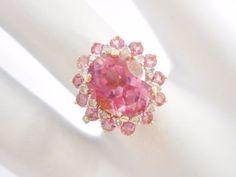 Genuine 14k Yellow Gold 3.6 CTW Pink Tourmaline & Diamond Ring Sz 7 #2855 #WithDiamondsGemstones