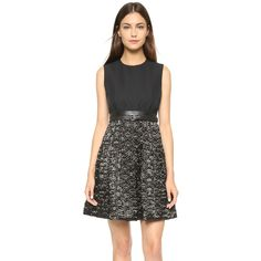 Victoria Victoria Beckham Sleeveless Dress ($1,220) ❤ liked on Polyvore featuring dresses, black, kohl dresses, pocket dress, black dress, black pocket dress and textured dress