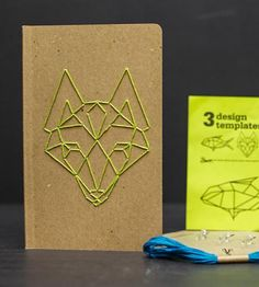 Whether you use the notebook in this kit for recording dreams, making lists or jotting down million dollar ideas, it will be of your own making, with the embroidery on the cover. Three templates are included to grace the journal cover: a wolf head, fish or geometric pattern. Choose your favorite and follow the included instructions to get stitching.