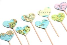 Cute idea to use an atlas on toothpicks as cupcake toppers for a retirement party...could also incorporate it into a sign or cake display background!